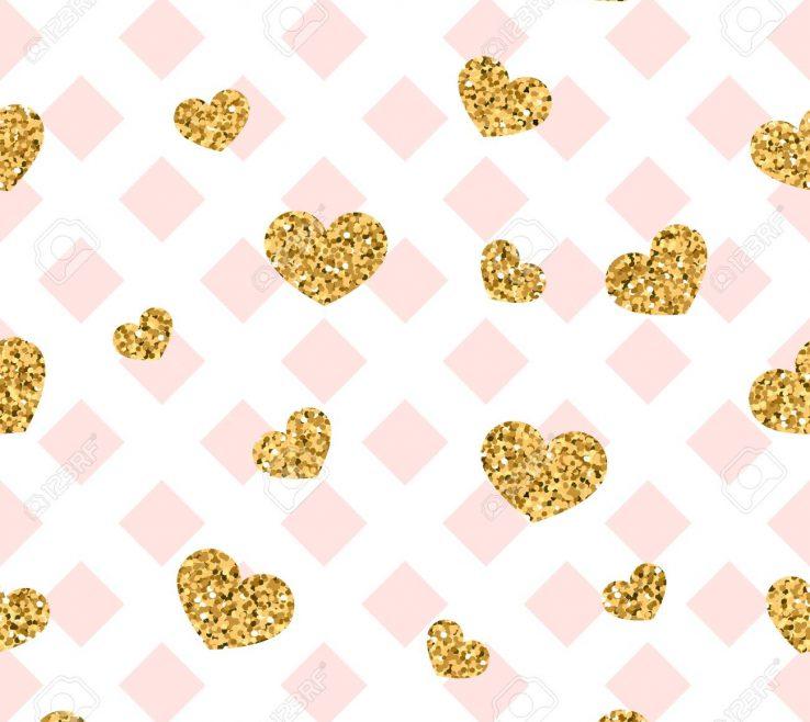 Geometric Decoration Of Pink White Decoration Golden Confetti Hearts