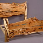 Impressing Best Wood For Furniture Of Juniper Slab Bed With Turquoise Inlay