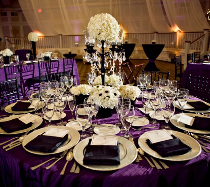 Impressing Black And White Decorating Ideas For A Party Of Silver Wedding Reception Wedding Table Decorations Purple