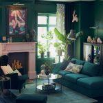 Impressing Dark Green Living Room Of An Open Ended Sofa Opposite An Armchair