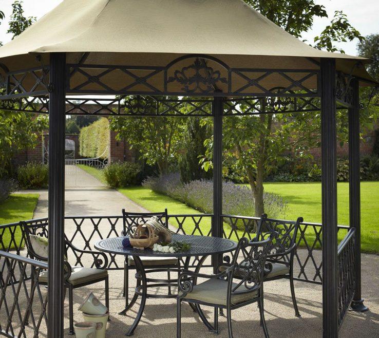 Impressing Furniture For Gazebo Of Hartman Kew Cast Aluminium Garden Pavilion