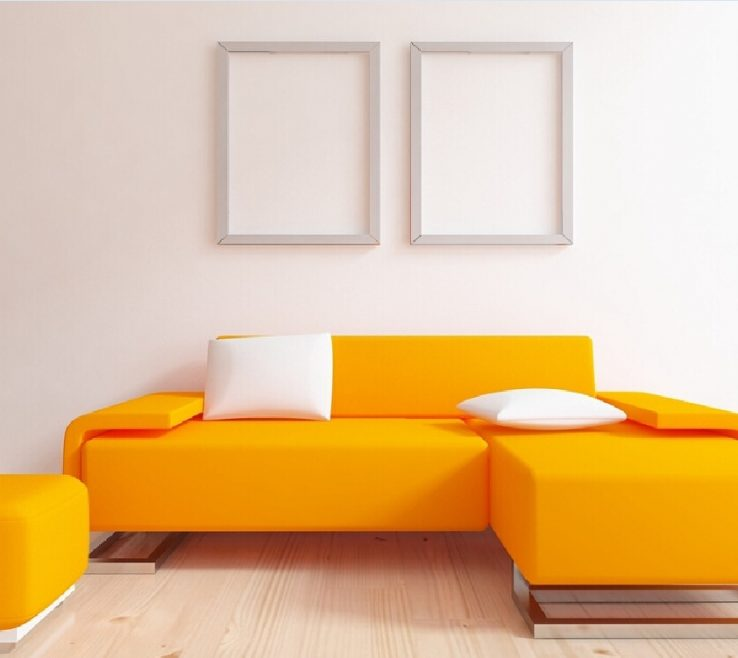 Impressing Orange Interior Design Of Minimalist With Sofa