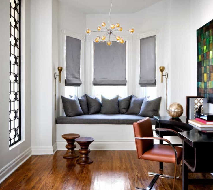 Impressive Bay Window Furniture Of Home Office With Modern And Seat Featured
