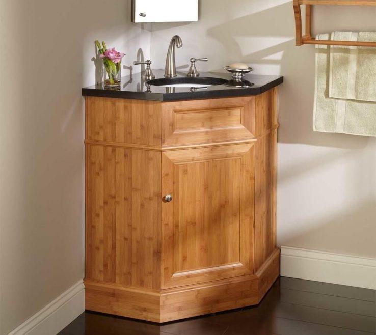 Impressive Corner Sink Vanity Of Bathroom: Great Bamboo Bathroom With Undermount