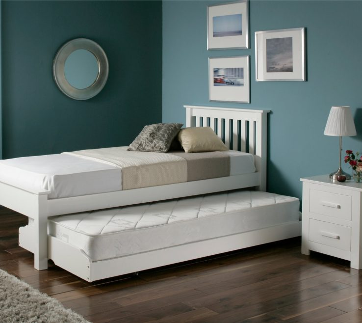 Ing Beds For Small Spaces Of White Bed Mattress Fur Rug Blue