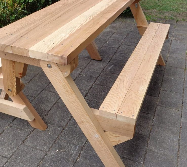 Ing Garden Bench Table Of Folding Picnic Made Out Of 2x4s