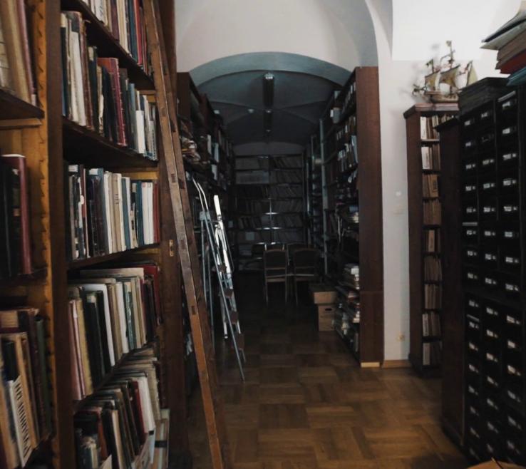 Inspiring Bookshelves Library Style Of Tracking Shot In Old Interior Wooden Floor