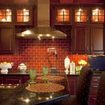 Inspiring Red Brick Kitchen Wall Tiles Of Beautiful Effect Brown Lacquered Wood