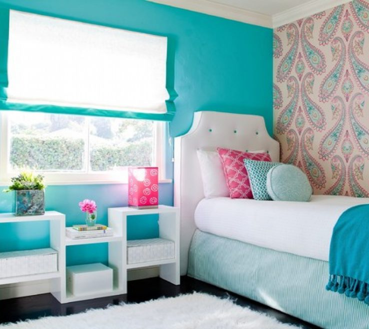 Inspiring Turquoise Blue Bedroom Designs Of Cute Teenage Beachy Themed Design Painted
