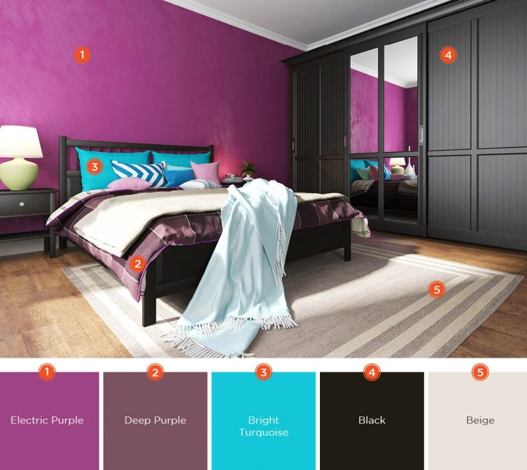 Inspiring Turquoise Color For Bedroom Of Purple Is An Uplifting Known Encouraging Creativity.