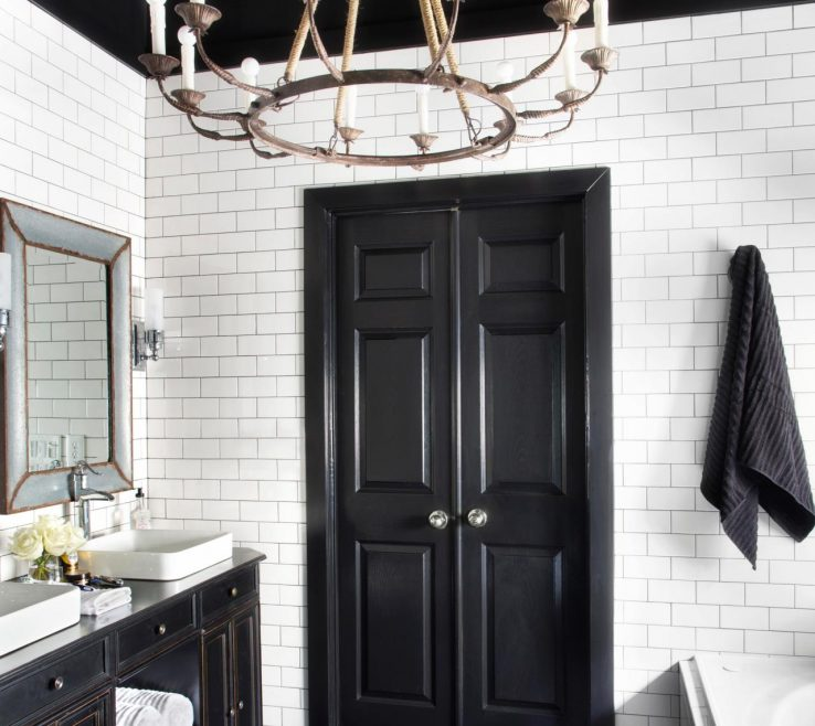 Interior Design For Black Interior Doors Of Timeless Bathroom In And White