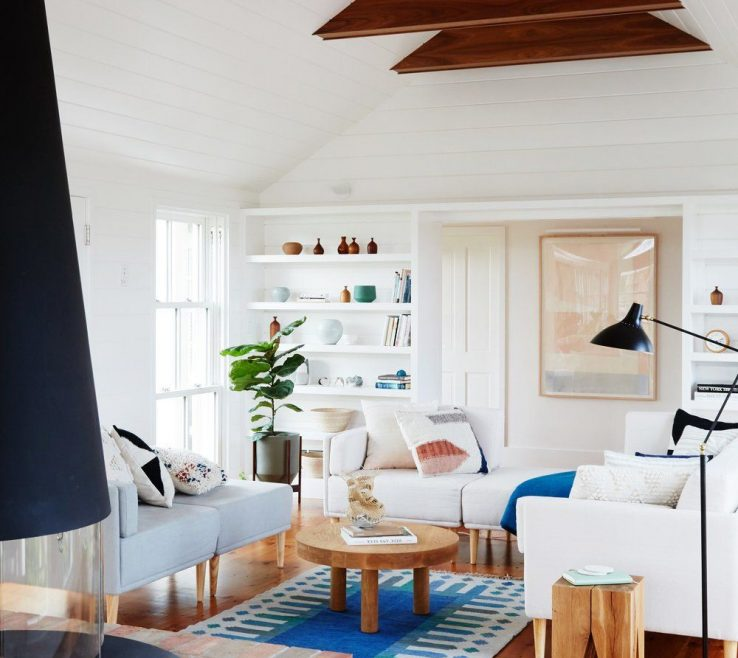 Interior Design For Small Seating Area Of A Mid Century Style Fireplace Contrasts The