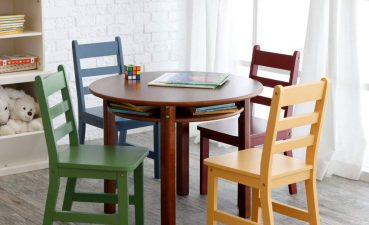 Kids Study Table With Storage Of Conceptreview: Lipper Childrens Walnut Round And 4