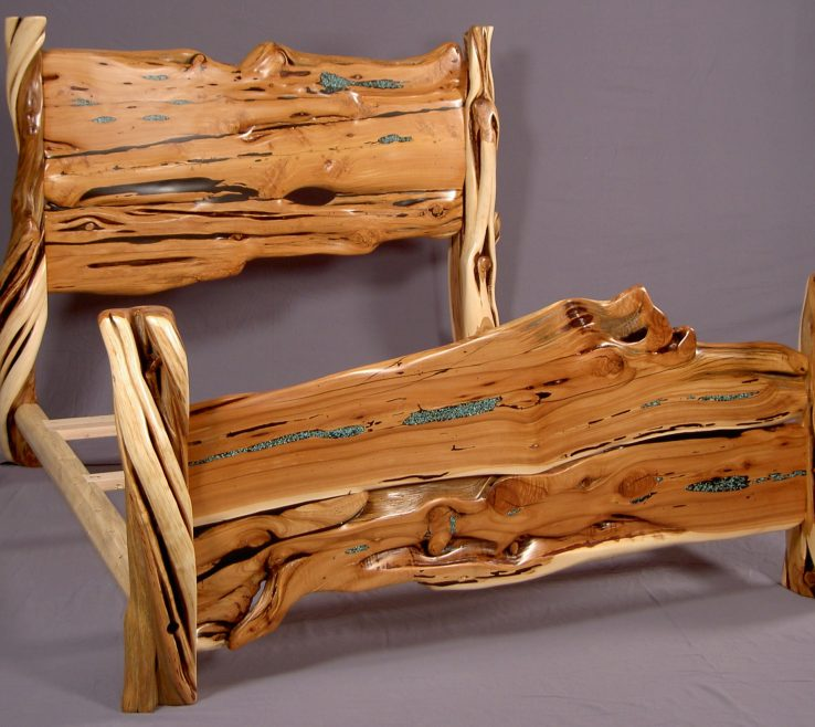 Likeable Best Wood Furniture Of Juniper Slab Bed With Turquoise Inlay