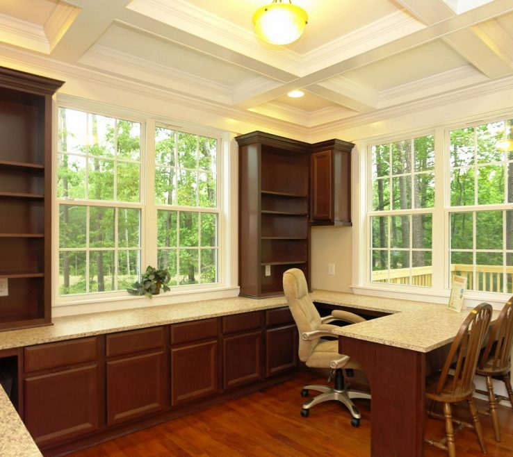 Likeable Built In Home Office Of Downstairs With Coffer Ceiling