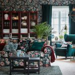 Likeable Dark Green Living Room Of Decked Out In Floral Walls And Colours