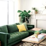 Likeable Dark Green Living Room Of With Cool Emerald Sofa By Article