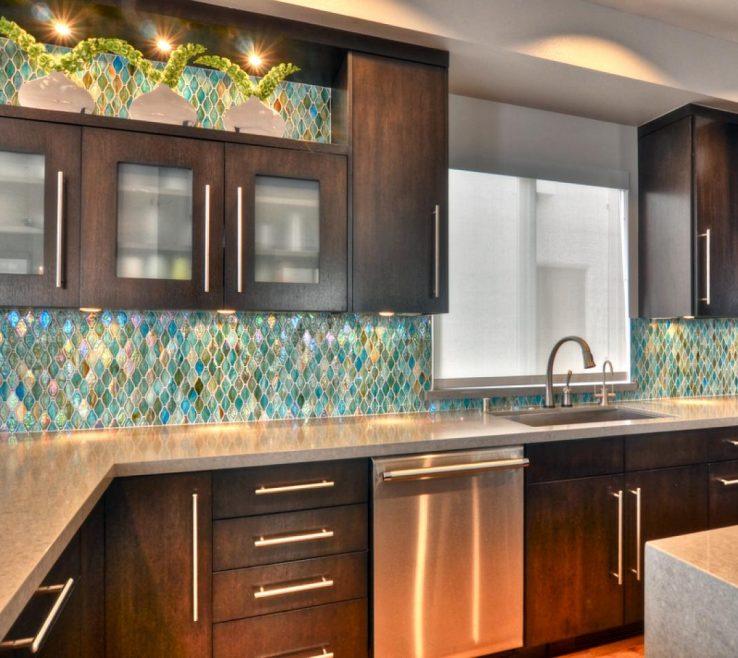 Likeable Designer Kitchen Backsplash Of Glass Tile Backsplash