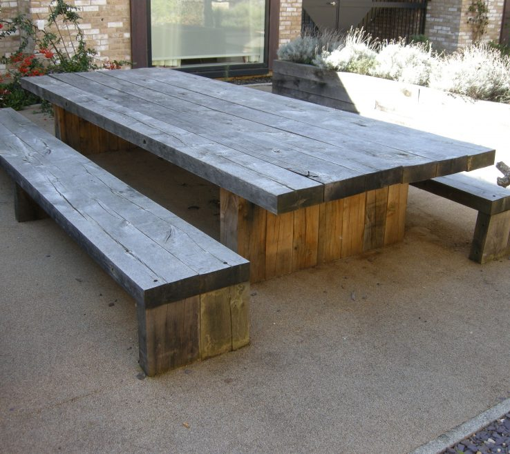 Likeable Garden Bench Table Of Garden And Patio Large And Long Diy Rustic Solid Wood Picnic Table With Detached Bench Seat Made From Reclaimed Wood Ideas Picnic Bench Picnic Bench Modern