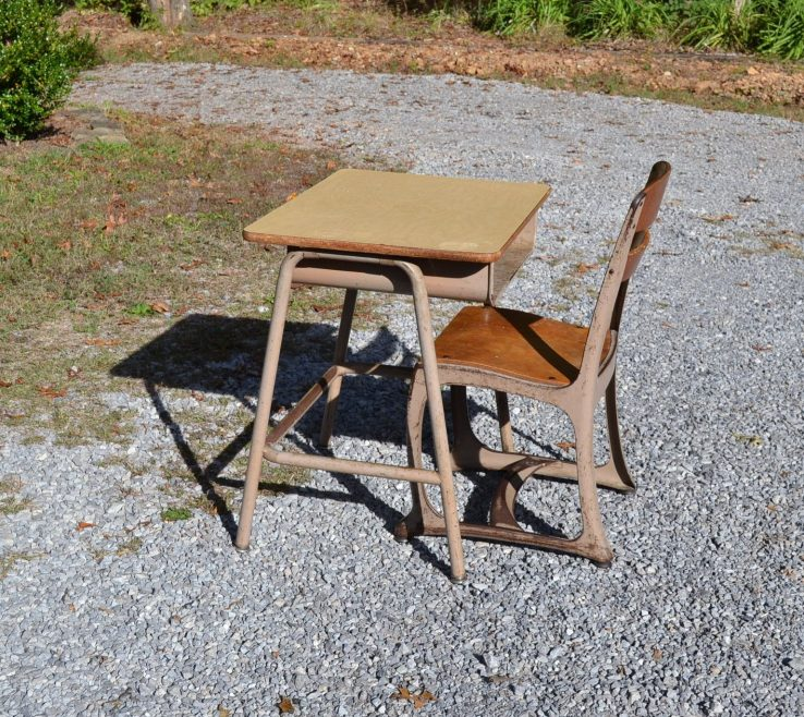 Lovely Child Size Desk Of Vintage School And Chair Metal And Wood