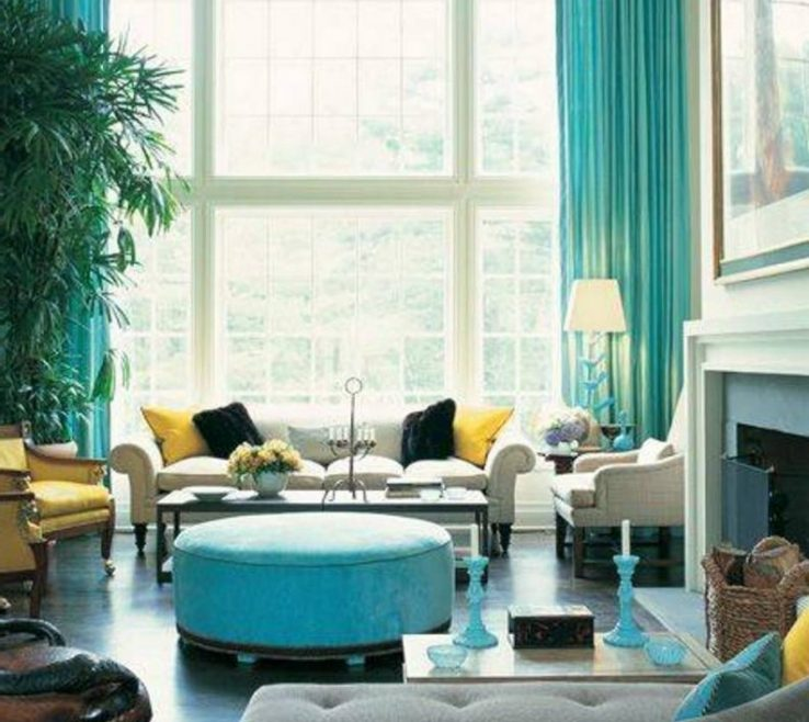 Lovely Dark Turquoise Living Room Of : Storage Tier Bottom Of