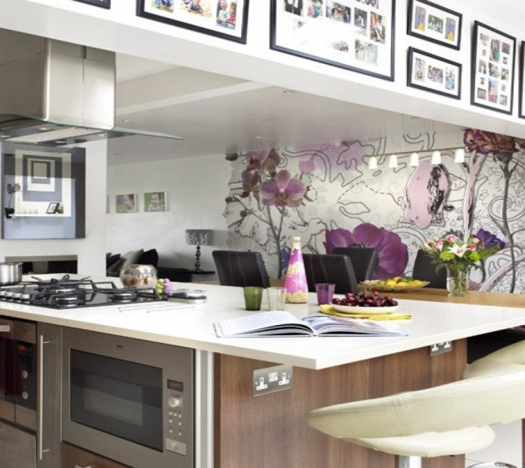 Lovely Wallpaper Designs For Kitchen Of Wall Ideas, Country Idea