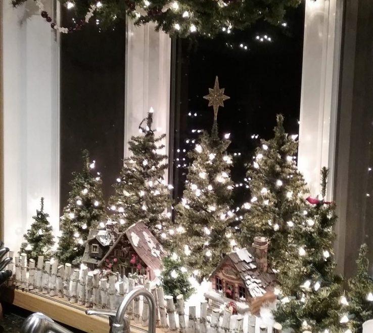 Lovely Window Sill Christmas Lights Of Village On A Windowsill