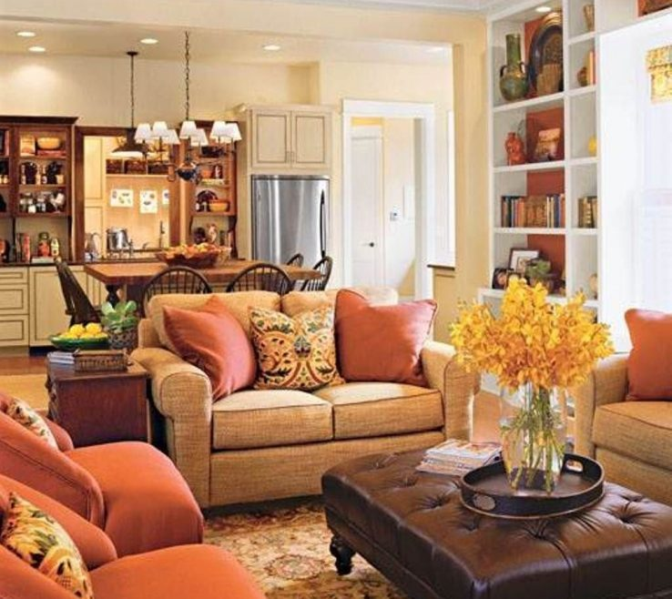 Magnificent Orange And Brown Home Decor Of Warm Family Room Colors Good Family