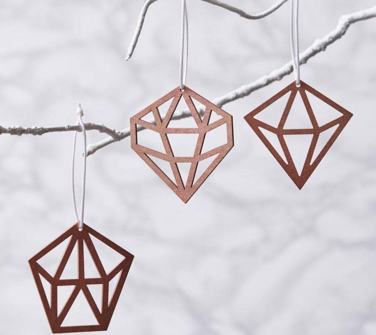 Mesmerizing Geometric Decoration Of Copper Christmas Decorations