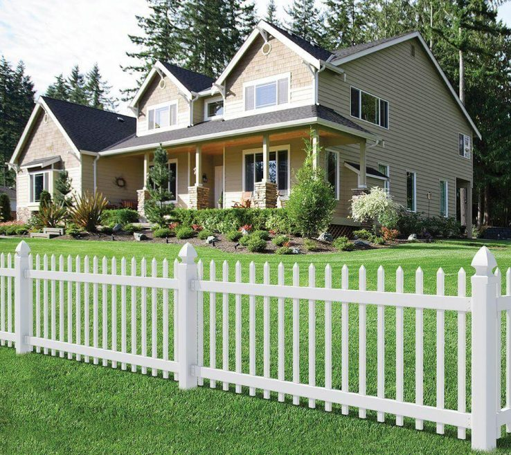 Mesmerizing Wood Fence Designs Of White Decorative In The Front Yard