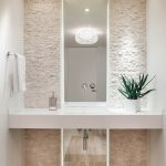 Modern Accent Wall Ideas Of Contemporary Powder Room All White Cream Stone Cobblestone Washroom