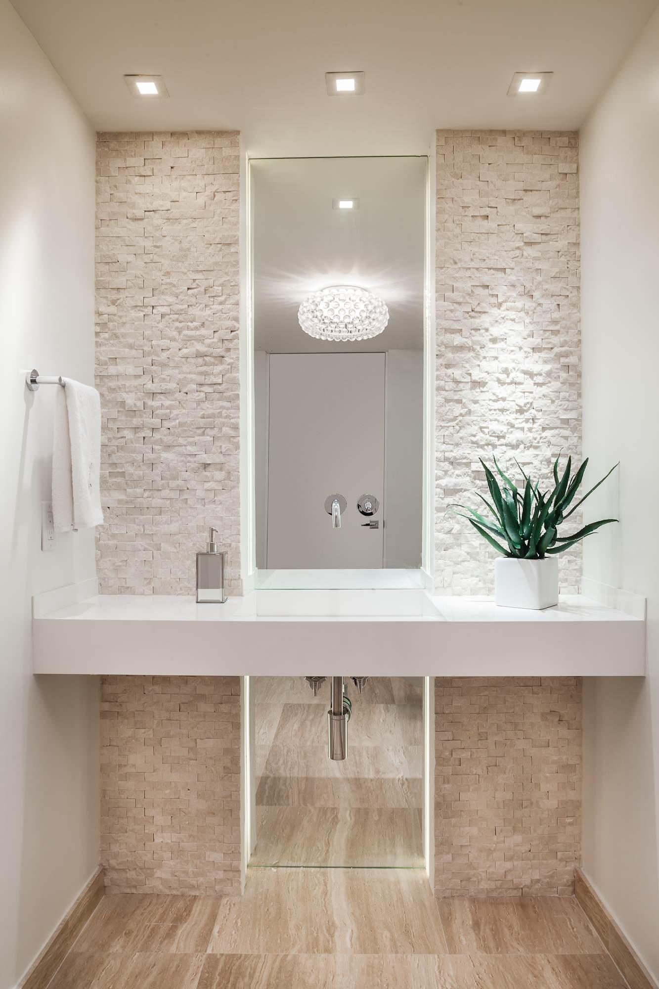 Modern Accent Wall Ideas Of Contemporary Powder Room All White Cream Stone Cobblestone Washroom