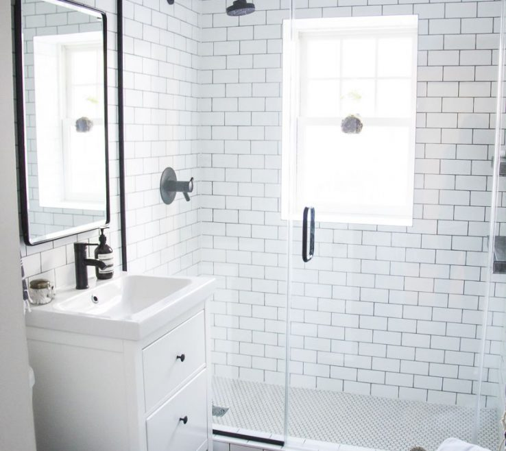 Modern Bathroom Shower Of Bathroom, Black And White Makeover, A