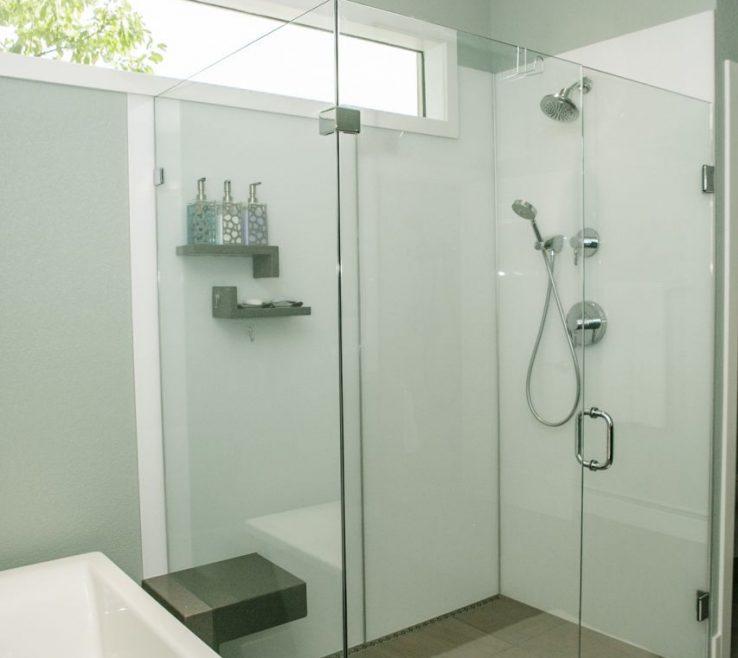 Modern Bathroom Shower Of Grout Free High Gloss Acrylic Wall Panels