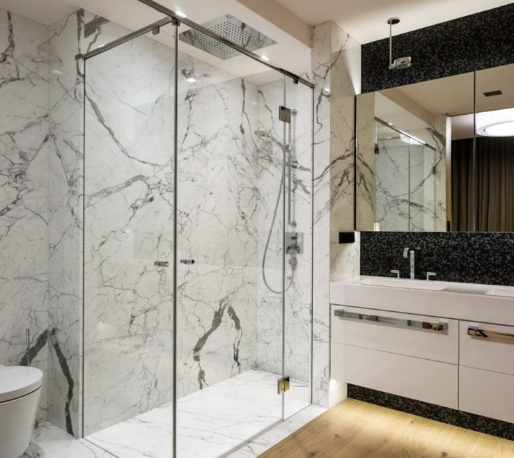 Modern Bathroom Shower Of With Long Glass Doors And Chrome Railing