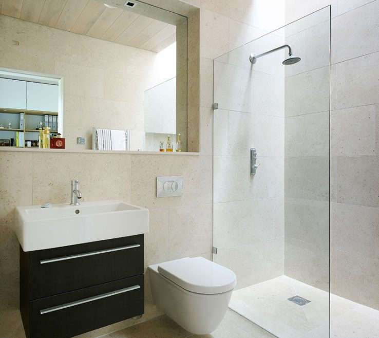 Modern Bathroom Walls Of Neutral Square Tiles On The And Floors