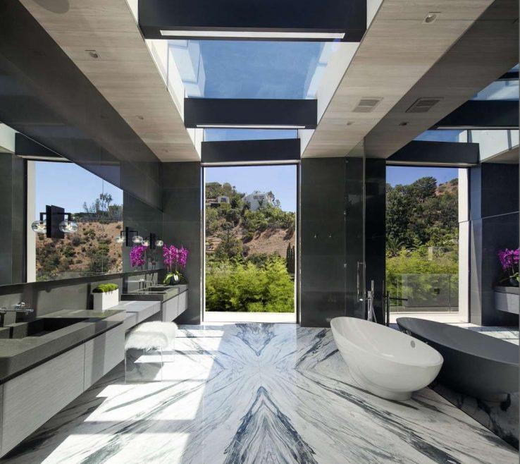 Modern Skylights Of Sleek, Bathroom Features Lots Of Natural Light