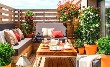 Picturesque Balcony Ideas Of Patio Ideas: Color, Built In Benches, Decor