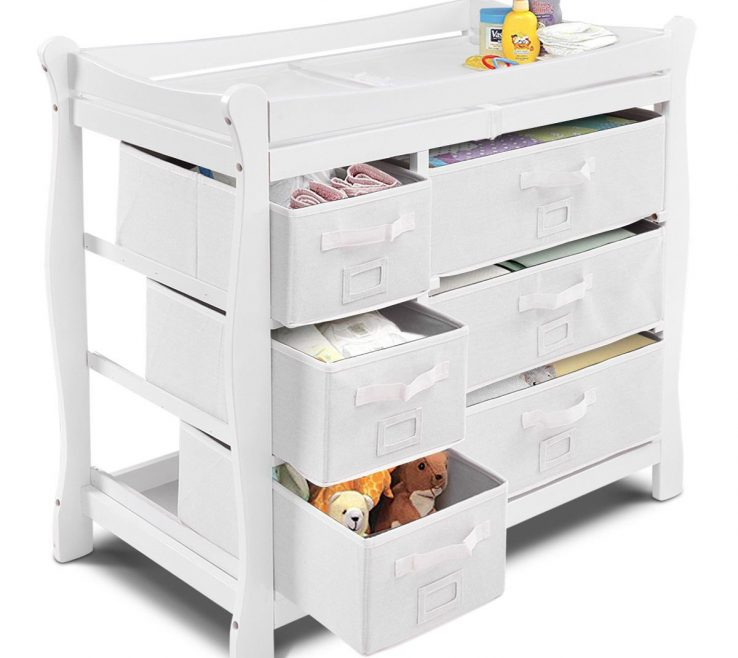 Picturesque Chest Of Drawers For Nursery Of Costway White Sleigh Style Baby Changing Table