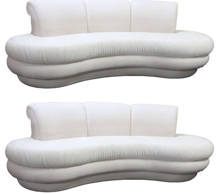 Picturesque Curved Modern Sofa Of Pair Or Single Vintage Adrian Pearsall Kidney