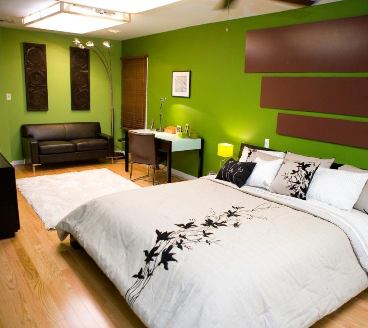 Picturesque Decorating In Green Of Bedrooms