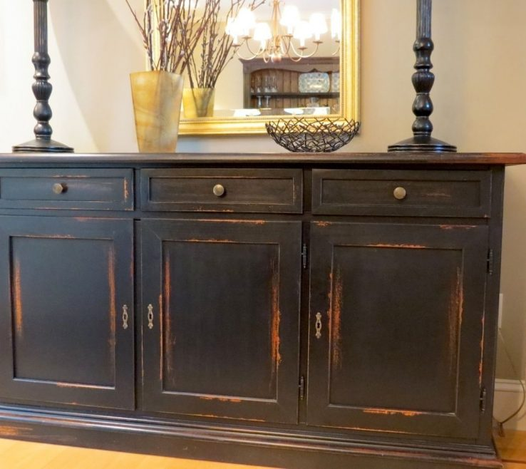 Picturesque Dining Room Buffet Decorating Ideas Of Image Of: Distressed Sideboard Black