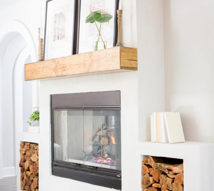 Picturesque E Fireplace Designs Of Rustic White Living Room With Neutral Wood