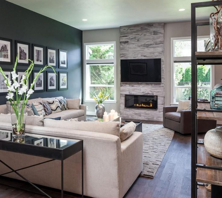 Picturesque Family Rooms With Fireplaces Of The Dark Accent Wall, Fireplace And Custom