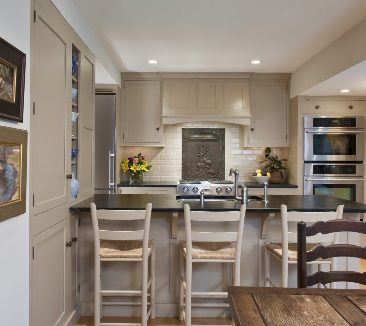 Picturesque Kitchen Peninsula With Seating Of On Both Sides Wood Pub Stools Gray