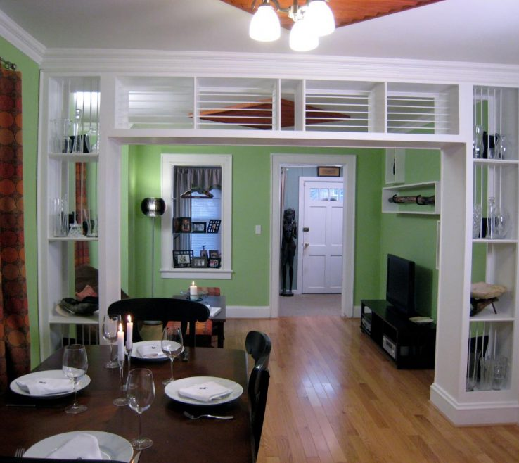 Picturesque Room Dividers Of Built In Bookcase And Divider