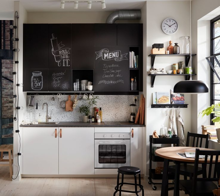 Picturesque Small White Kitchens Of Black And Kitchen With Chalk Doors Inscribed