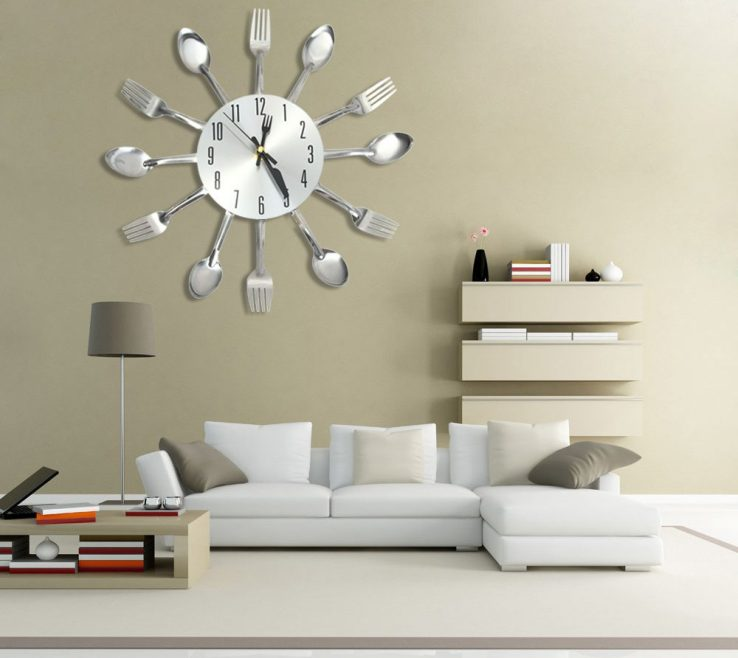Picturesque Wall Clocks For Kitchens Of Original Large 3d Clock Modern Design Stainless