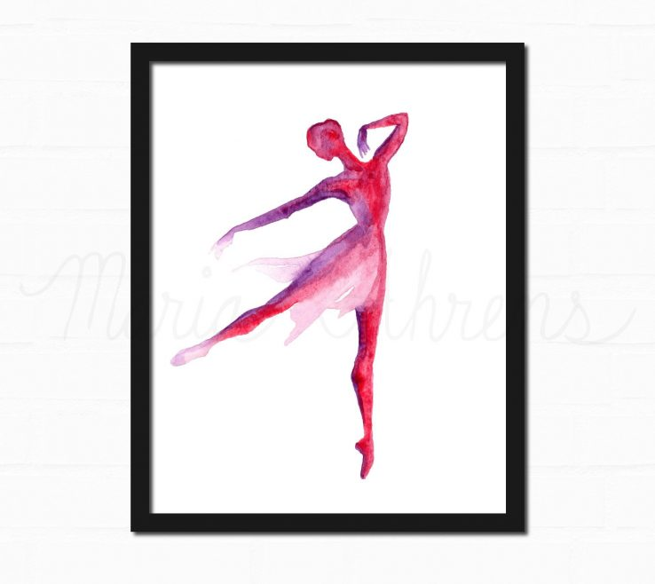 Red And Purple Home Decor Of Ballerina Watercolor Art Print Art Print Watercolor