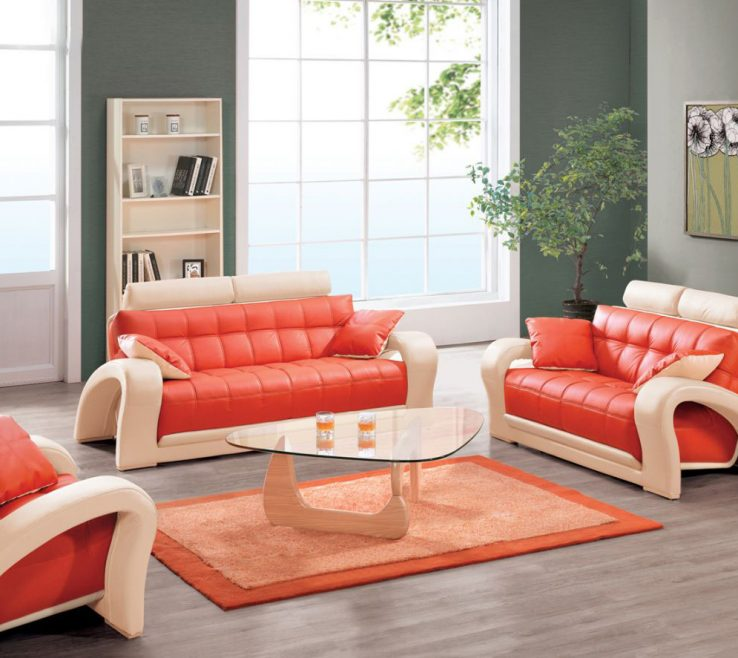 Remarkable Brown And Orange Sofa Of Futuristic Unique Design With White Accent Frame
